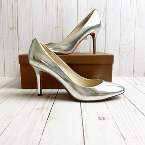 COACH Metallic Silver Heel Pointed Pump Size 10